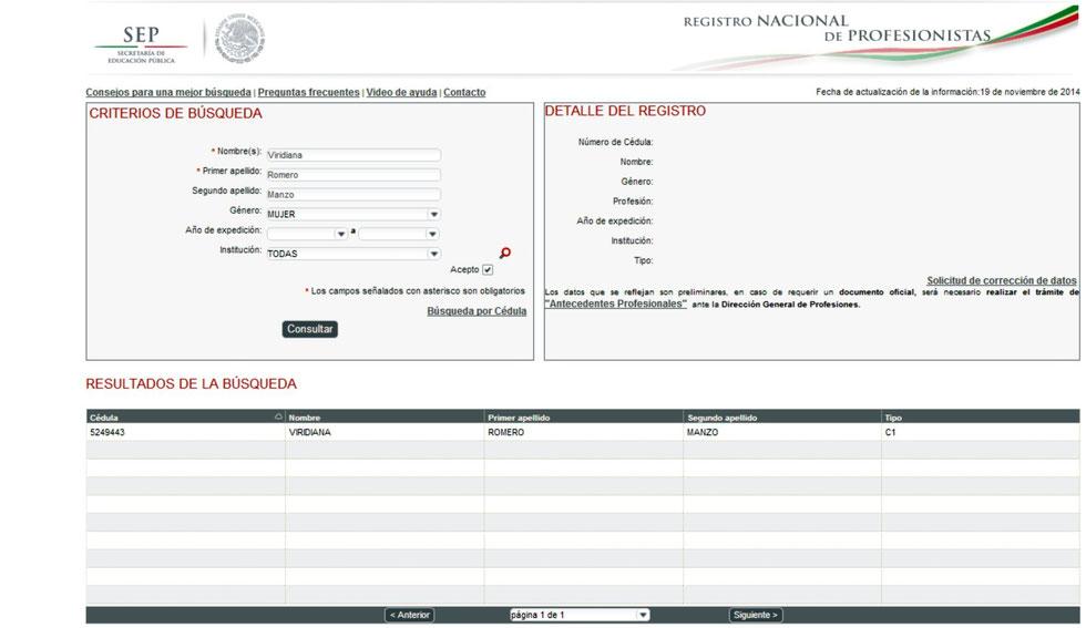 De click en la imagen y entre al resultado del Registro Nacional de Profesionistas.