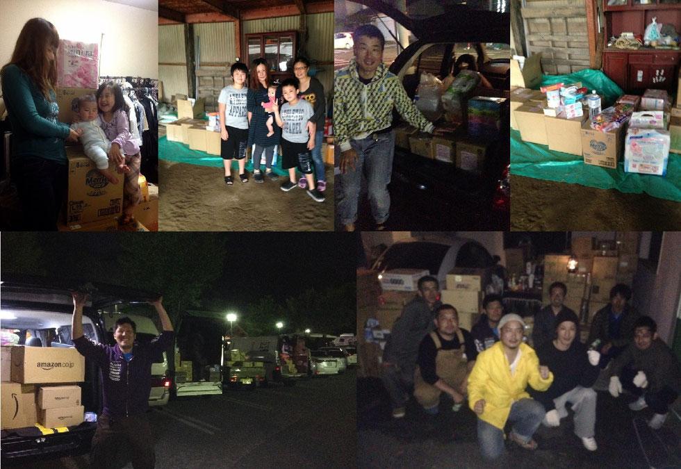 福岡から熊本への物資や、運び先の方々の写真