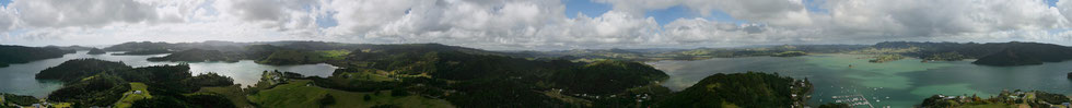 Whangaroa Harbour Far North view from St. Paul's Rock 360° panorama