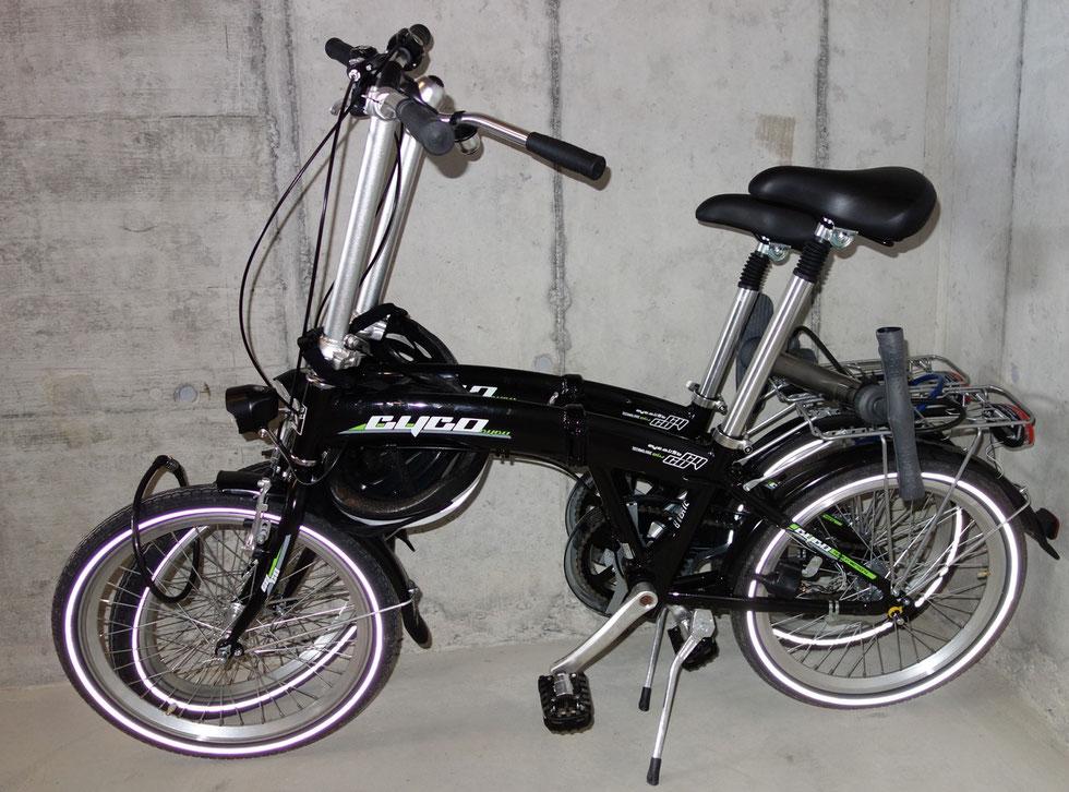 Diese beiden neuen Klappfahrräder mit (Helm und Schloss) stehen unseren Gästen - auf Wunsch - zur Verfügung.