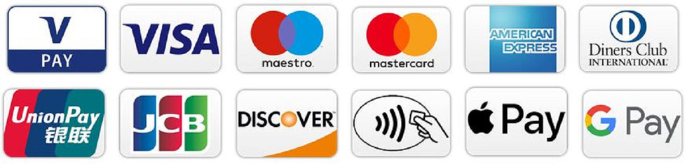 V-Pay, Visa, Maestro, Mastercard, American Express, Diners Club, Union Pay, JCB, Discover, NFC, Apple Pay, Google Pay