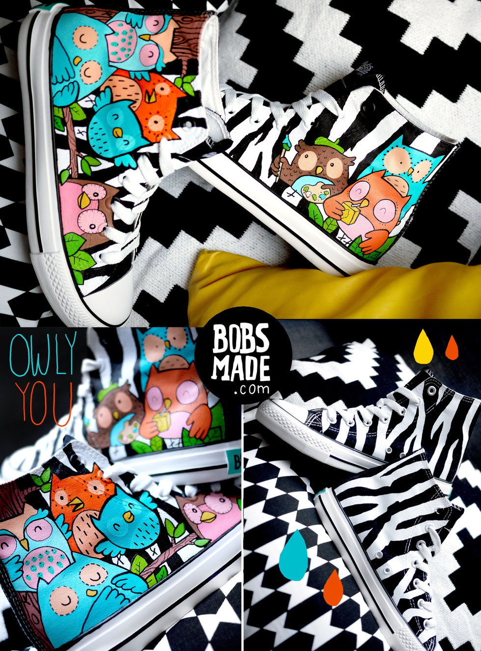 Bobsmade Owl Chucks Custom Shoes
