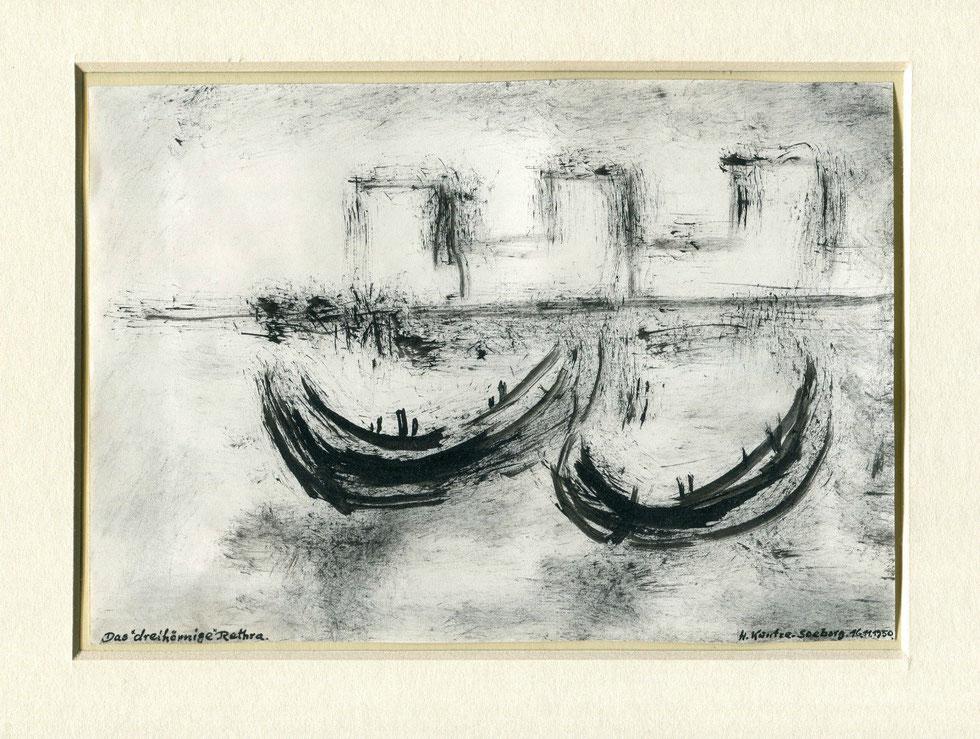"""Das """"dreihörnige"""" Rethra. Aquarell von H. Kuntze-Seeborg (1950). Foto von Baal Müller"""
