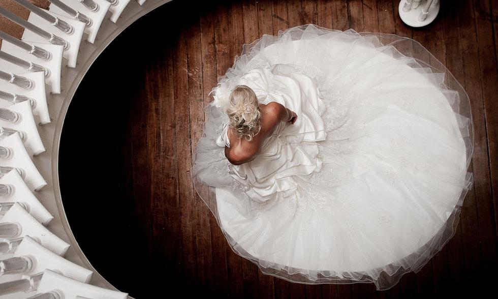 Always & Forever wedding dress spiral staircase portrait hallsannery house bideford north devon