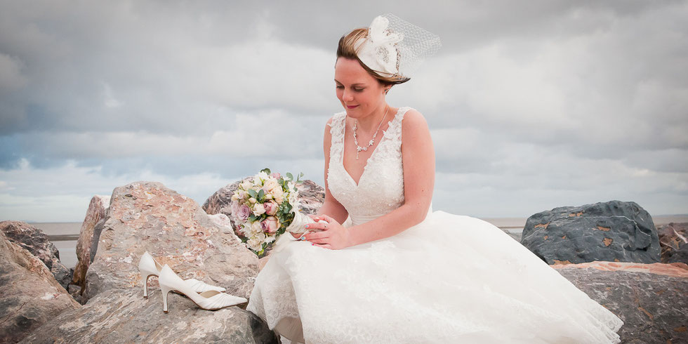 bride portrait on beach north devon wedding