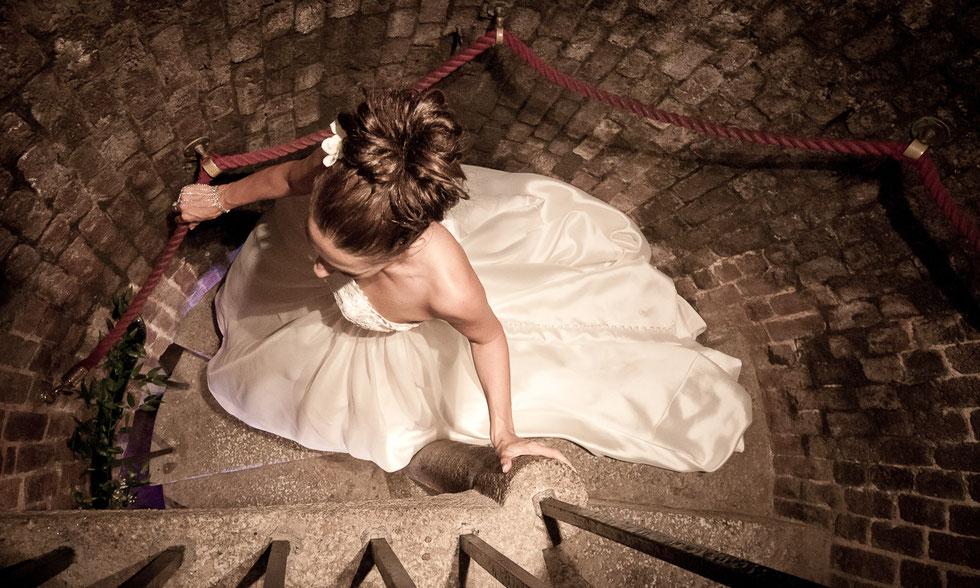 bridal portrait spiral staircase north devon wedding day