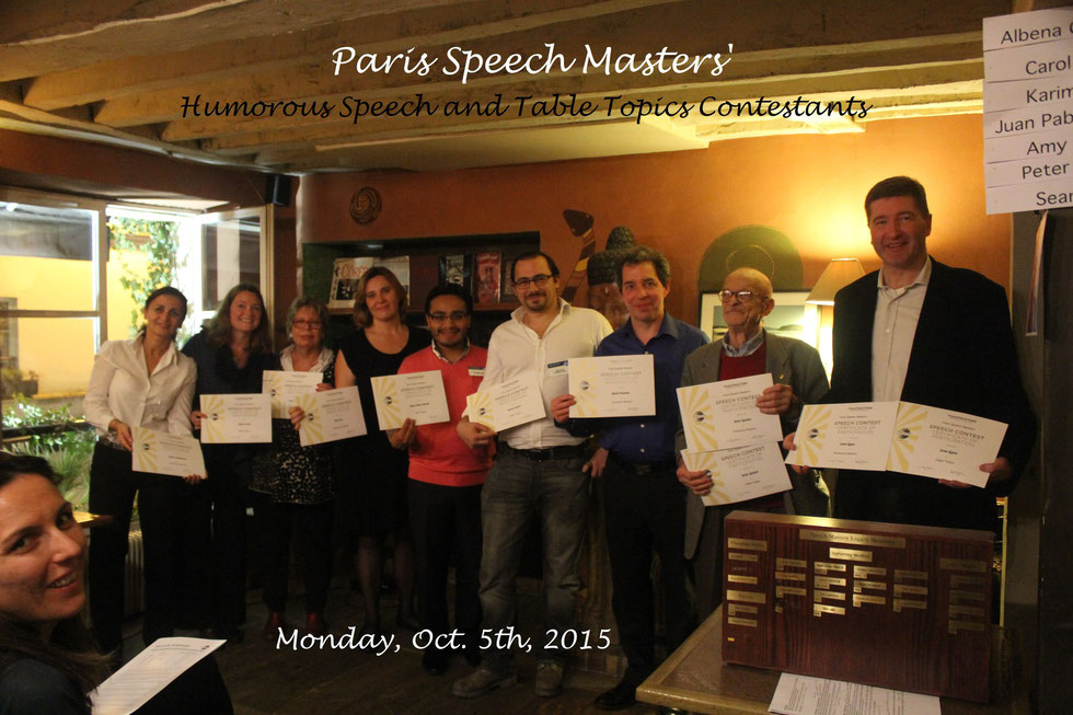 Humorous Speech and Table Topic Contest, Oct  5th, 2015