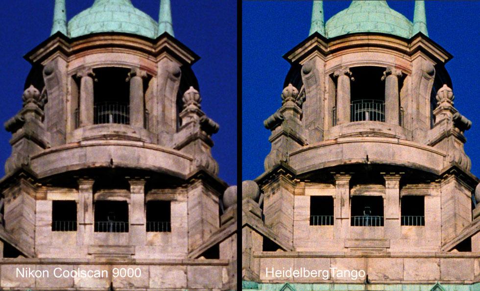 Vergleich Details aus einem 6x6 Negativ Fuji Pro 160NS, links Nikon Coolscan 9000, rechts Heidelberg Tango Trommelscanner, Fotografin: Gabriele Willig, Schärfevergleich Nikon vs. Trommelscanner, fineartdrumscanning.de, Scanservice, drumscanner sharpness t