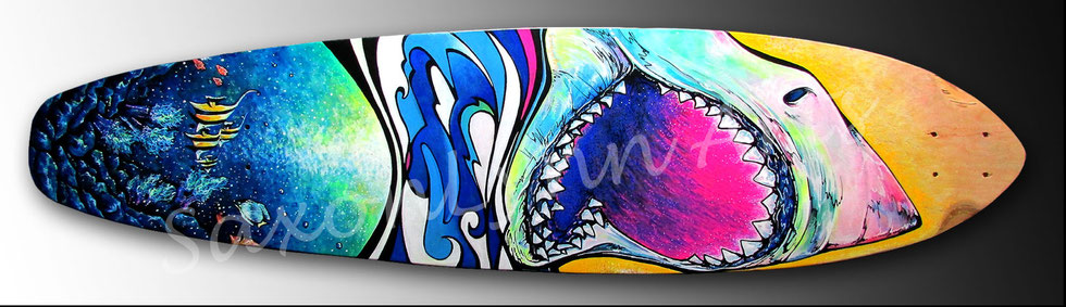 multicolored shark fish longboard