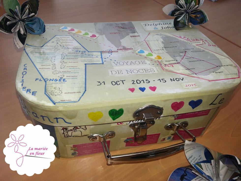 Urne de mariage originale, valise pour la lune de miel, fleur origami, fleurs en papier, excursion au Sri Lanka suivie d'une croisière plongée aux Maldives