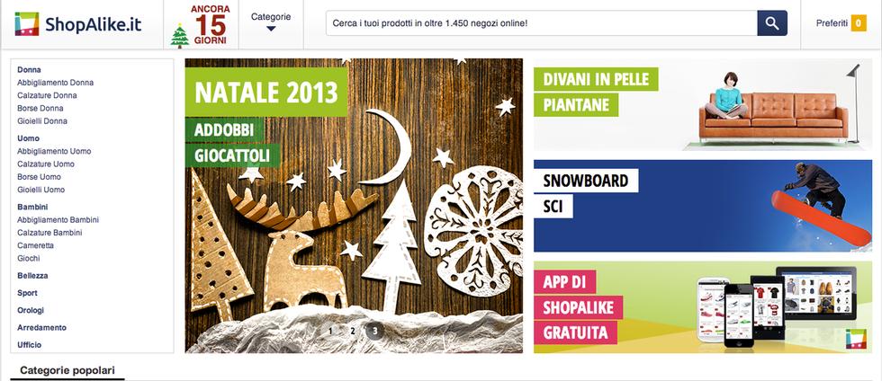 Il portale per lo shopping online ShopAlike.it, sponsor del Natale 2013 di Jimdo