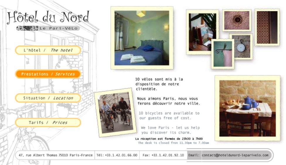 capture d'écran de l'hotel du nord pro vélo