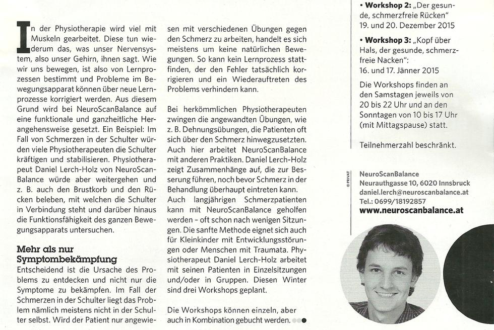 PR in der aktuellen Gesund im Tirol - Ganzheitlich und funktional gegen Schmerzen