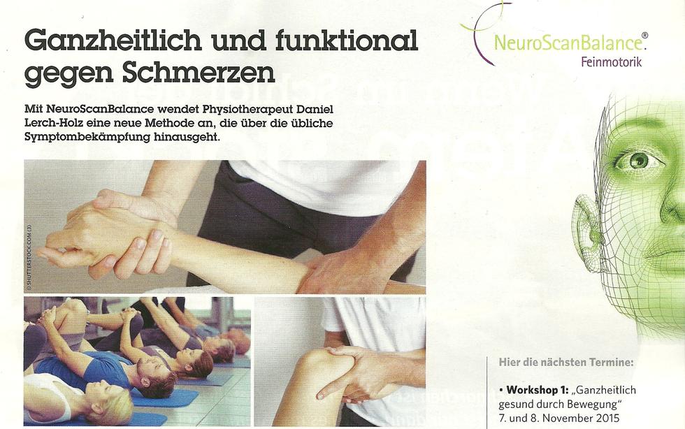 Unsere PR in der aktuellen Gesund im Tirol - NeuroScanBalance - Ganzheitlich und funktional gegen Schmerzen