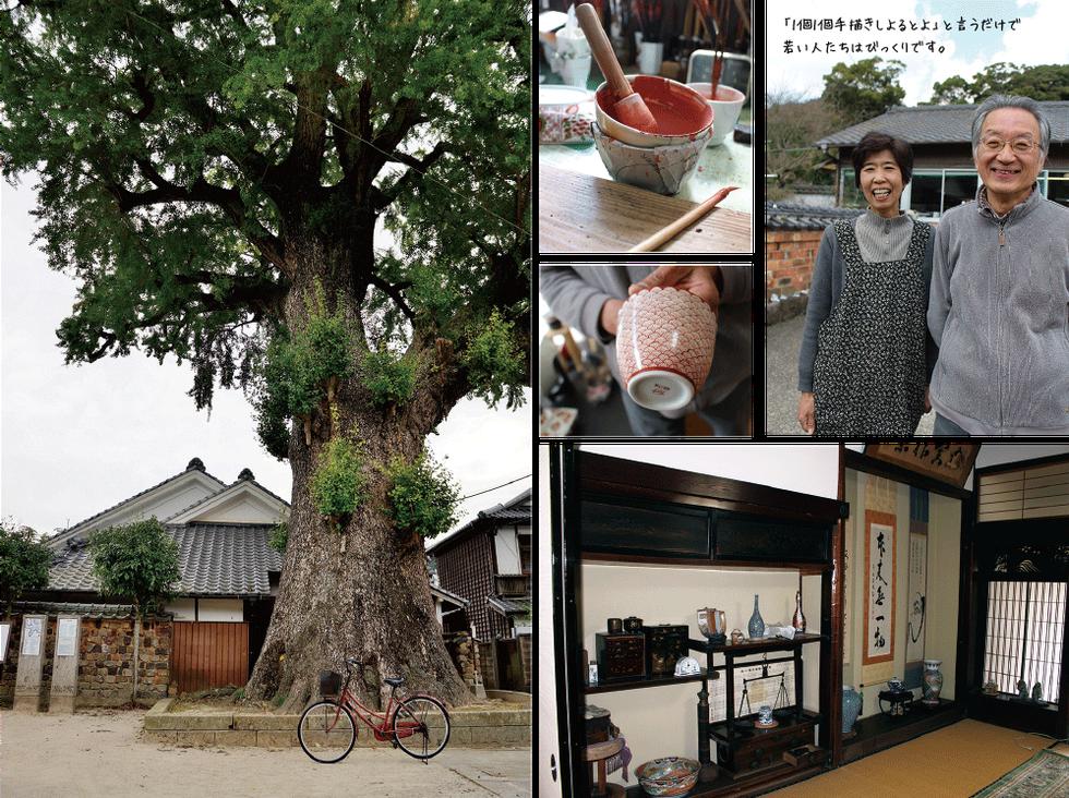 樹齢千年の大イチョウ(国天然記念物)。右が池田赤絵工房の母屋。