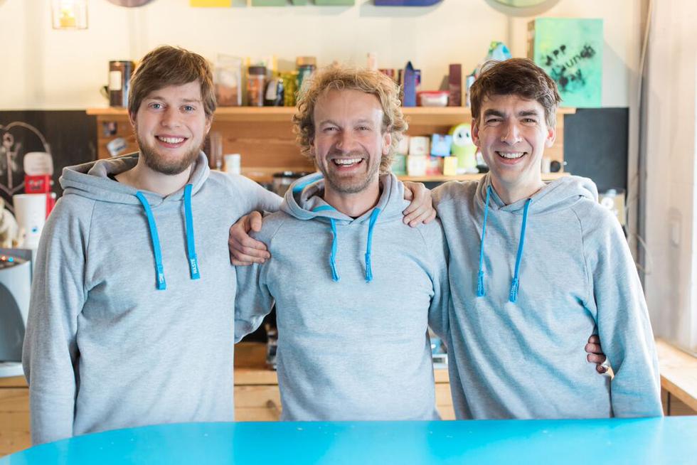 Aperçu : Les fondateurs de Jimdo. De gauche à droite : Christian Springub, Fridtjof Detzner, Matthias Henze.