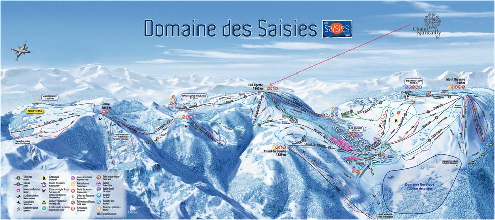 Les Saisies - Plan des pistes de ski