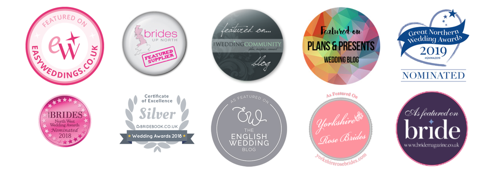 a collection of badges from various wedding blogs showing where my weddings have been featured
