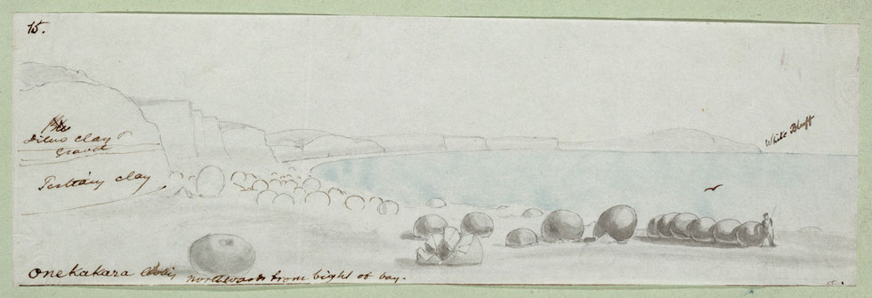 Mantell, Walter Baldock Durrant (Hon), 1820-1895. [Mantell, Walter Baldock Durrant] 1820-1895: Onekakara, looking north from bight of bay. [1848].. Mantell, Walter Baldock Durrant, 1820-1895: Scrapbook. 1840-1872.. Ref: E-281-q-016.