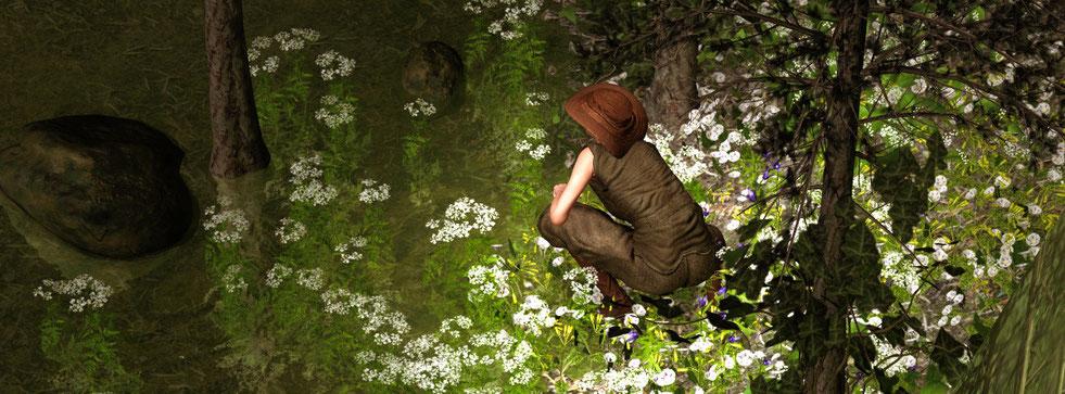Romantisches digitalart Bild mit Teich im Wald. Kunst modern aus Aachen bei Galerie Frutti dell'Arte.