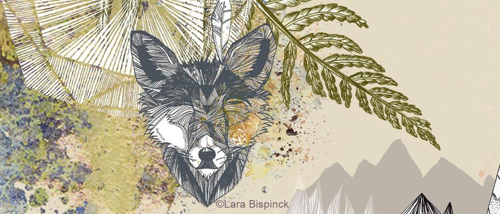 Ausschnitt mit Wolf aus einer Grafik von Lara Bispinck in der Galerie Frutti dell'Arte, Teilnehmer der Aachener Kunstroute 2015