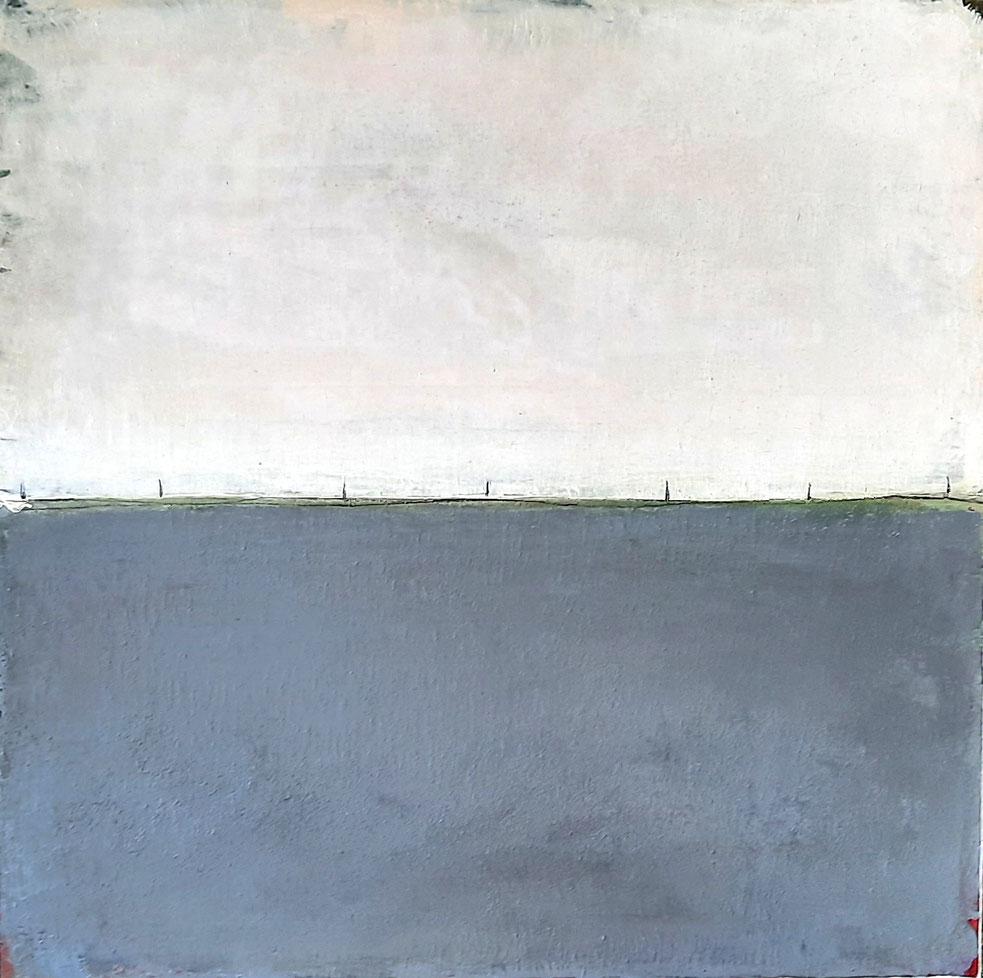 Landschaftsbild grau weiß 70 x 70 cm