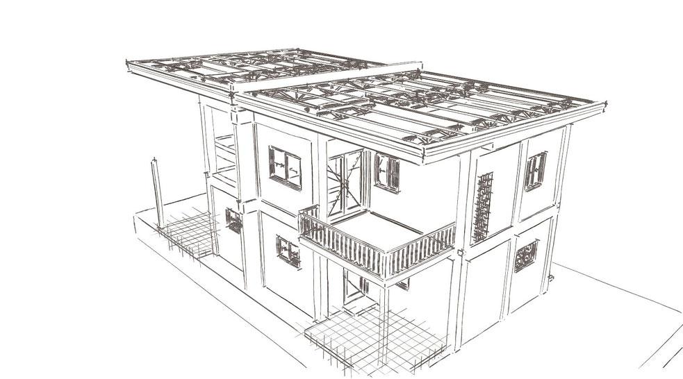 Skizze Haus auf den Philippinen