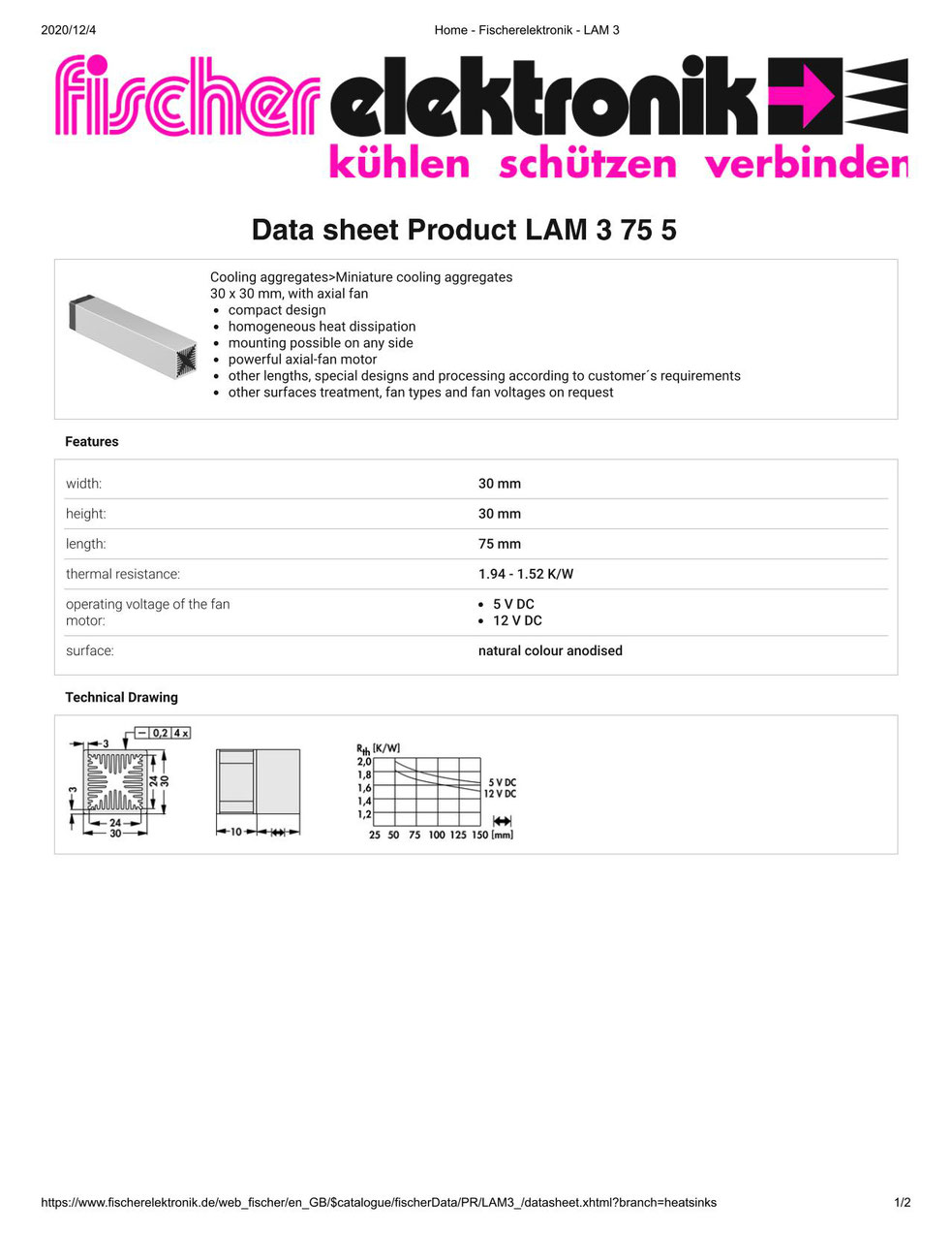 LAM 3 75 05 Fischer /フィッシャー 軸流ファン付 ヒートシンク