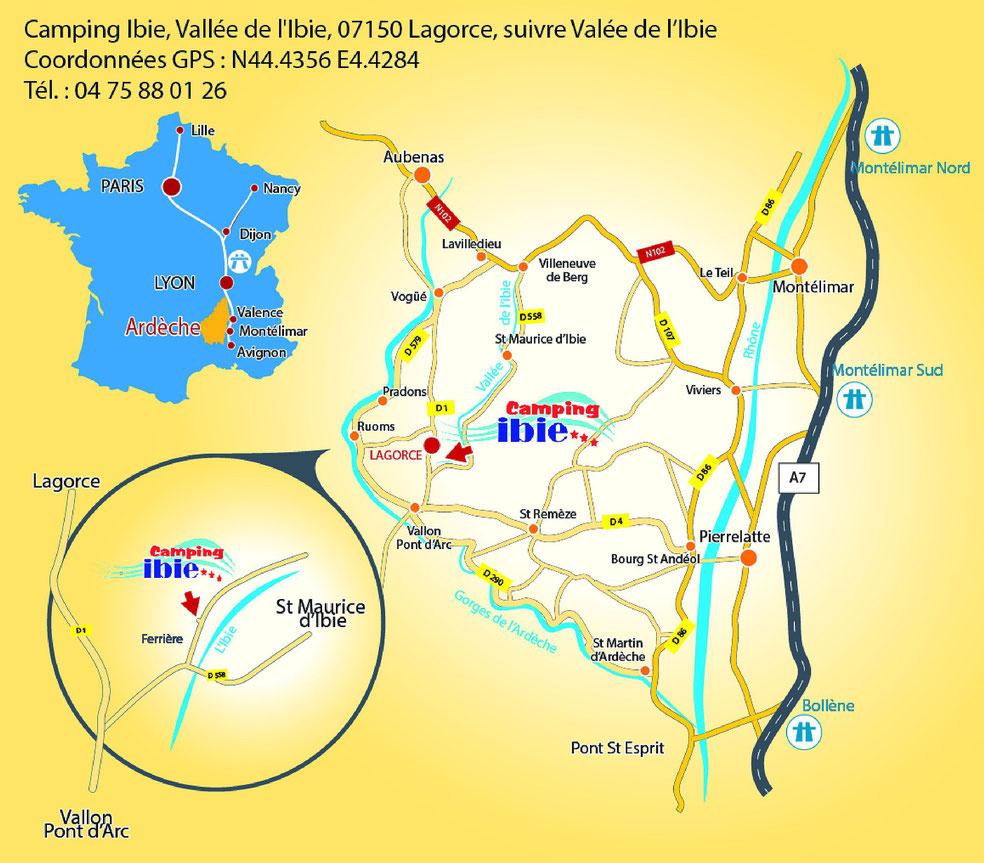 Pland'accès au camping Ibie en sud Ardèche