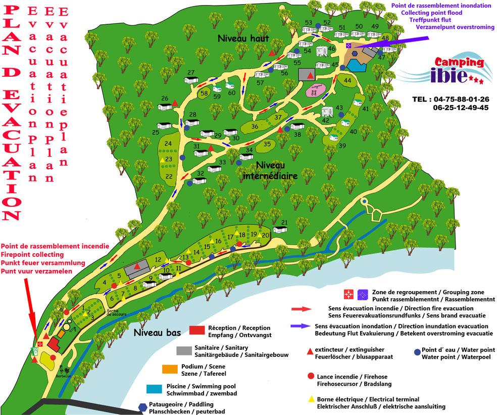 Plan du camping Ibie en sud Ardèche