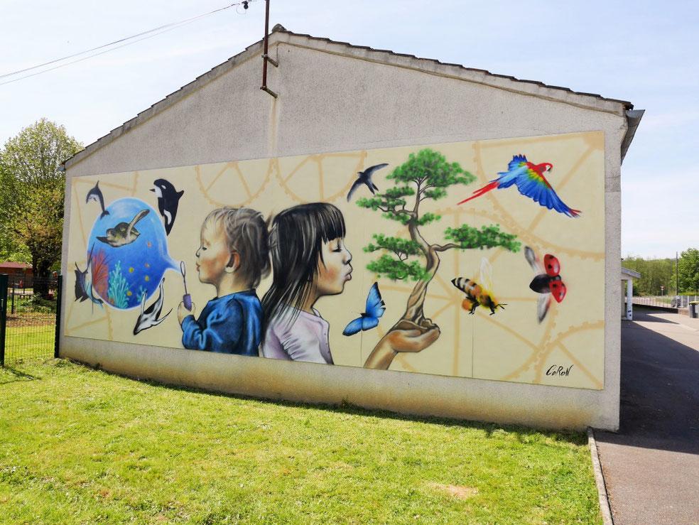 peinture-murale-trompe-l'oeil-école-enfance-rêve-imaginaire-animaux