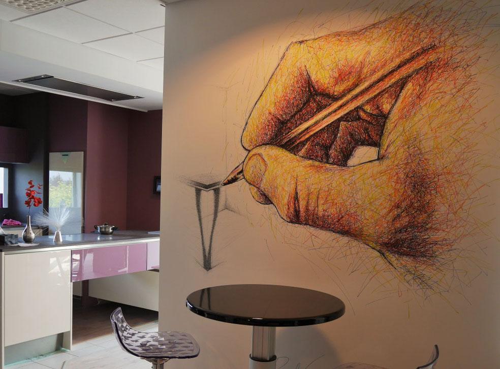 fresque-murale-cuisine-pérène-main-esquisse-décoration