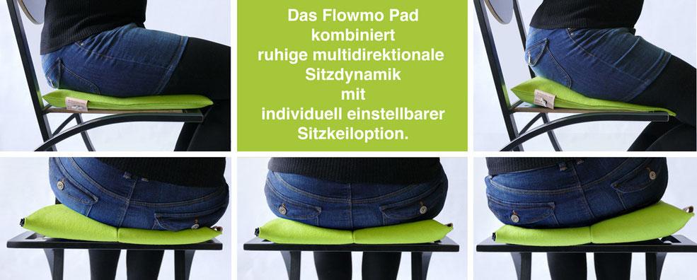 Sitzkissen Bürostuhl Pad ohne und mit Sitzkeil für dynamisches Sitzen: Das Flowmo Pad kombiniert ruhige multidirektionale Sitzdynamik mit individuell einstellbarer Sitzkeil Option.