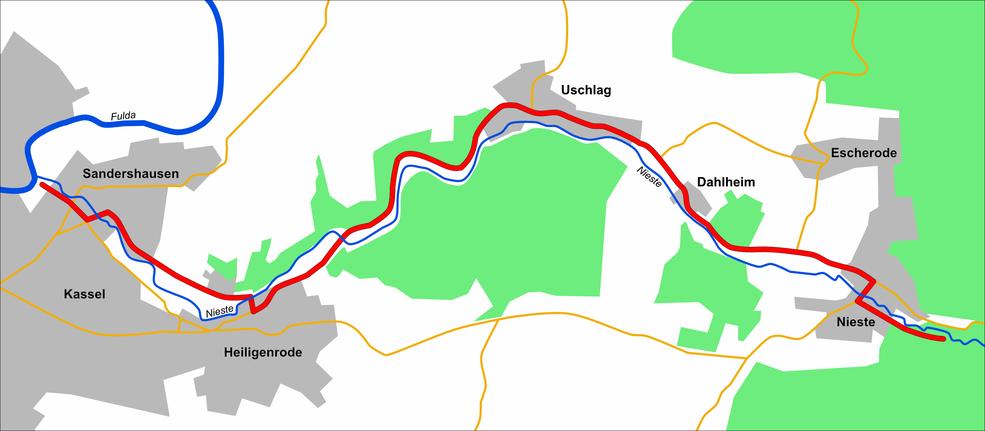Der Streckenverlauf durch das schöne Niestetal von der Mündung in die Fulda bis zum Quellgebiet der Nieste