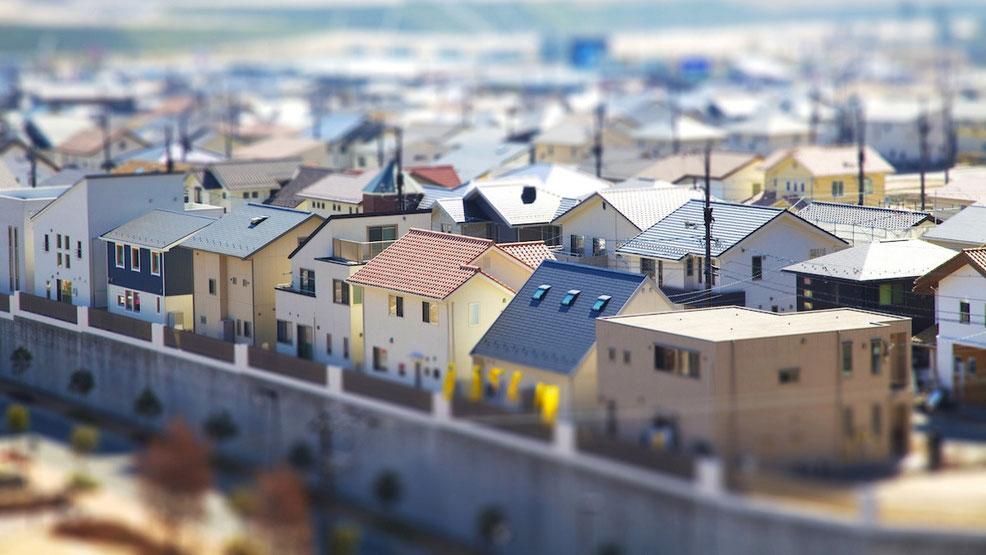 ミニチュアジオラマ風の住宅街風景