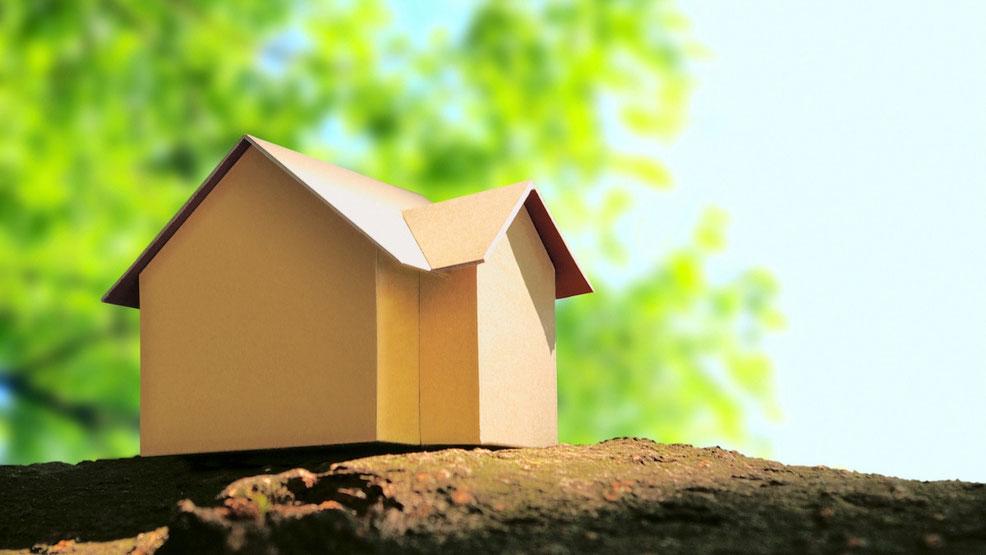木の上に置かれた紙で出来た家の工作模型