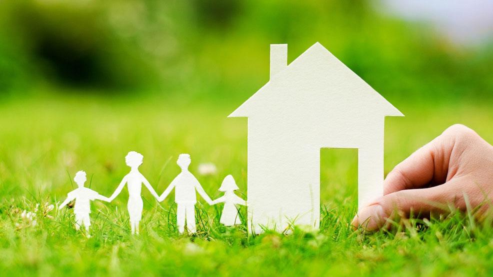 草むらの上で紙でできた家と家族を支える手