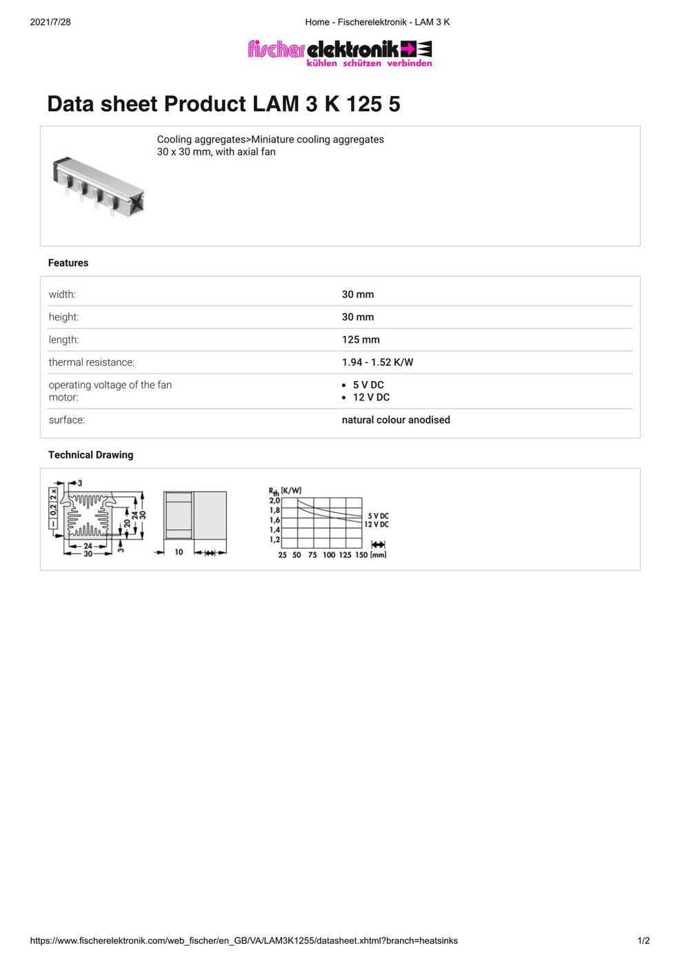 LAM 3 K 125 5 Fischer /フィッシャー 軸流ファン付 ヒートシンク