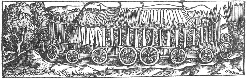 Wagenburg. Holzschnitt aus Livius, Römische Historien. Mainz, Schöffer, 1523.