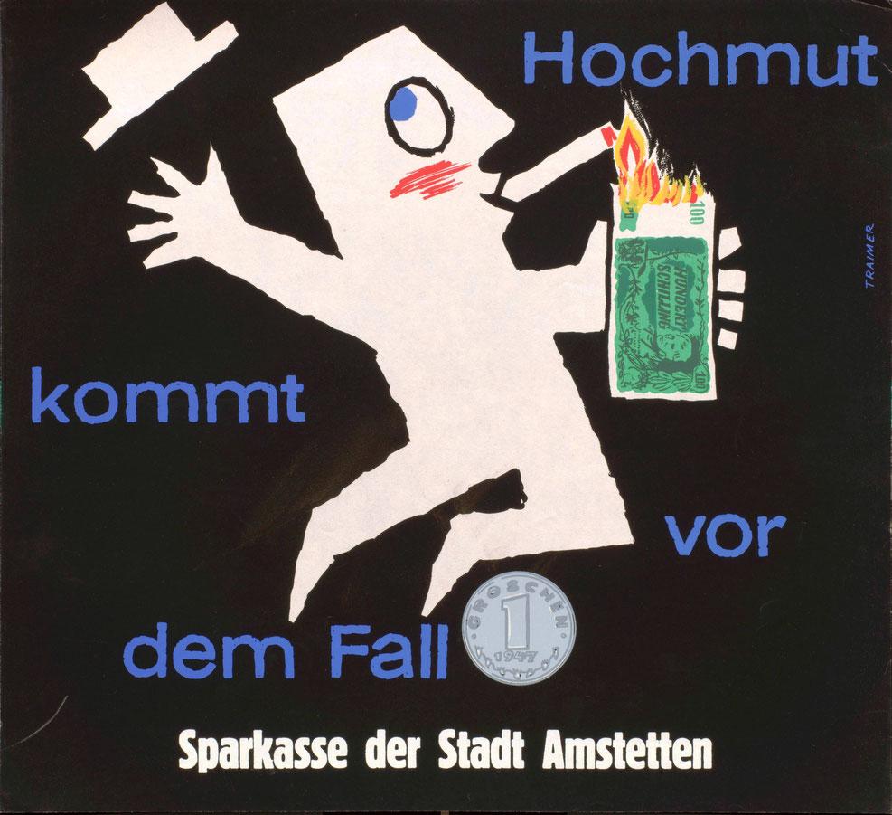 Sparkassenplakat kaufen. Humorvolle Werbung Plakat im Poster Shop Wien.