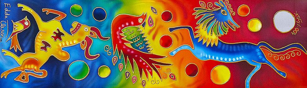 "Edda Clasen, ""Mexico"", 30 x 90 cm, 100 silk"