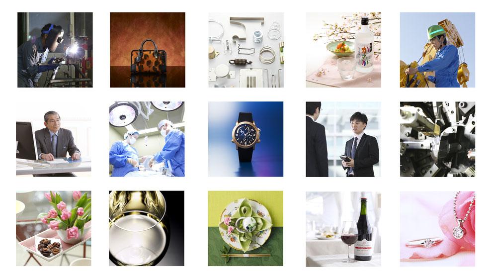 色々な広告宣伝用写真撮影 工場、バック、スプリング、お酒、病院、時計、ビジネス、機械、お花、ワイン、ジュエリー