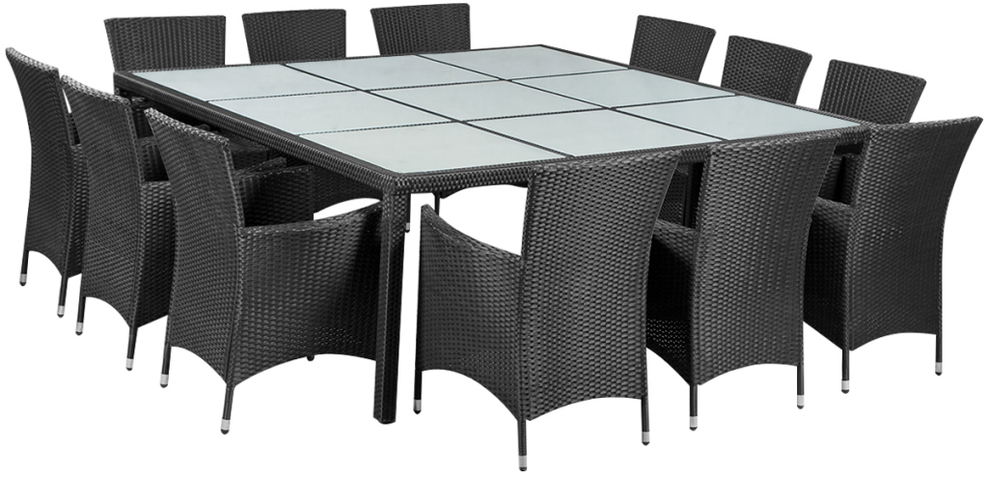tavolo +12 poltroncine +rattan +arredo giardino + outdoor +polyrattan