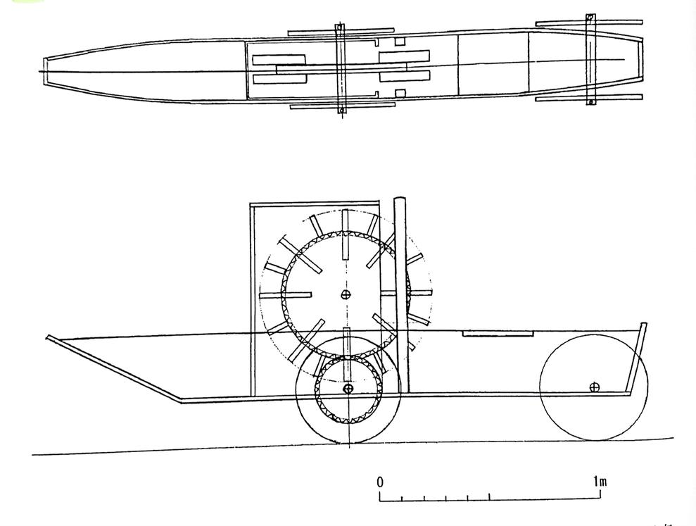 門弥式陸船車の推定復元図(増田一裕氏原図)※増田一裕氏(同上、P11)より
