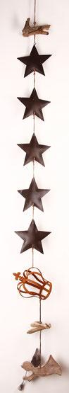 Girlande aus braunen Metallsternen - Engel und Krone