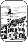 Romanisches Rathaus Druckgrafik Vignette