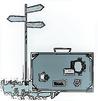Vektorgrafik eines Reisekoffers und eines Wegweisers