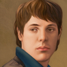 Andreas Leißner: *Selbstporträt*, 2008, Öl/Nessel, mitteldichte Faserplatte, 37 x 27 cm