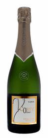 Bouteille vert champagne, habillage vert, bonnet Or.