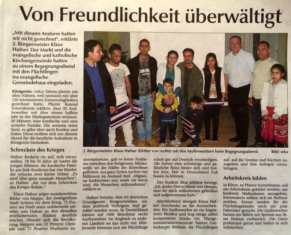 Asylpolitik Amberg Sulzbach Klaus Hafner Konrad Schornbaum Königstein CSU Ortsverband Königstein Hirschbach